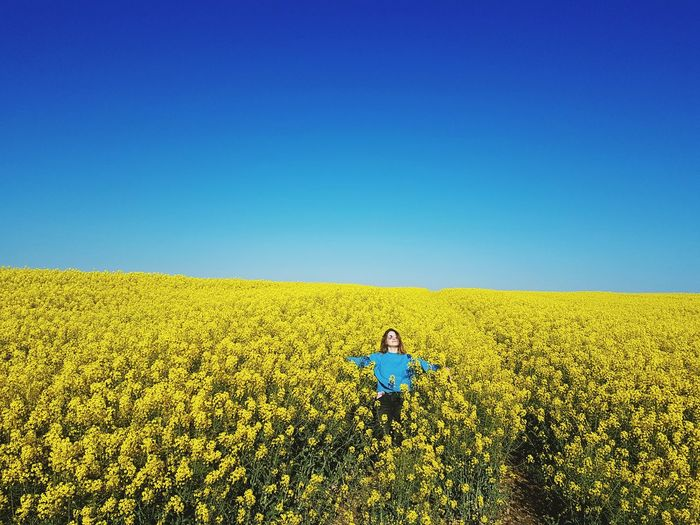 Young Woman With Arms Outstretched Standing By Flowers On Field Against Clear Blue Sky