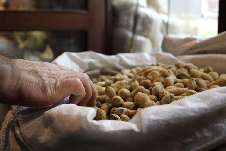 Cropped image of hand taking groundnuts in sack
