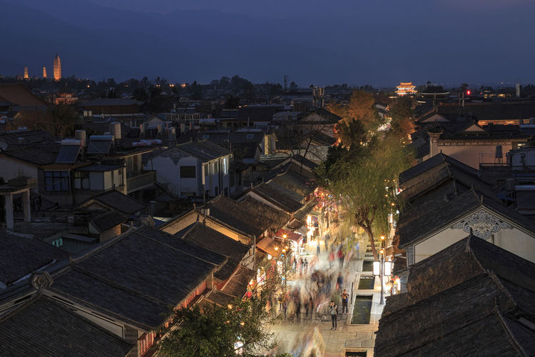 Dali Old Town, Yunnan in China, by night ASIA Dali Yunnan Market Three Pagodas Architecture Built Structure Changshan China High Angle View Xizhou