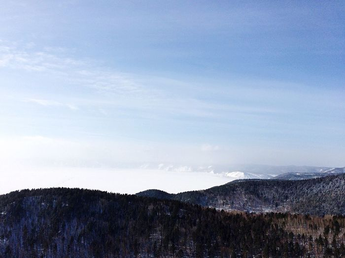 A view of the lake Baikal. Listvyanka village. Baikal Lake Baikal Russia Winter Baikal Beauty In Nature Nature Sky Scenics No People Tranquil Scene Tranquility Day Landscape Water Tree Mountain Outdoors First Eyeem Photo