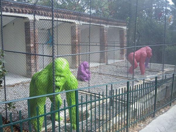 Neon Gorilla in a Cage
