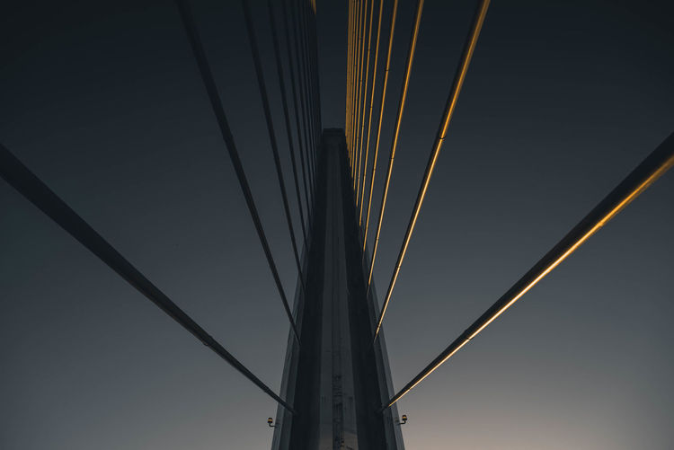 EyeEmNewHere Architecture Bridge Bridge - Man Made Structure Built Structure Cable Clear Sky Connection Day Low Angle View Metal Nature No People Outdoors Rope Sky Steel Cable Strength Suspension Bridge Transportation