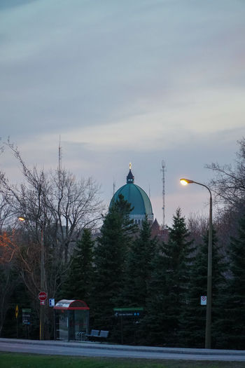 Architecture Bare Tree Beauty In Nature Building Exterior Built Structure Cold Temperature Day Dome Dusk Mont Royal Nature No People Outdoors Sky Snow St Joseph Sunset Tree Winter