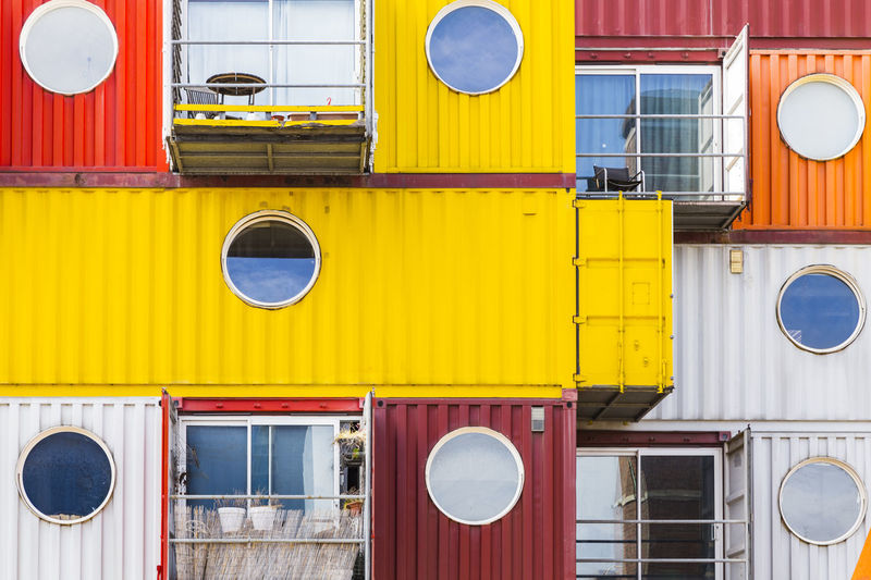 Trinity Buoy Wharf, Poplar, London, England, United Kingdom Architecture Building Exterior Built Structure Circle Close-up Communication Day Fire Engine Land Vehicle Mode Of Transport No People Outdoors Red Speaker Transportation Yellow