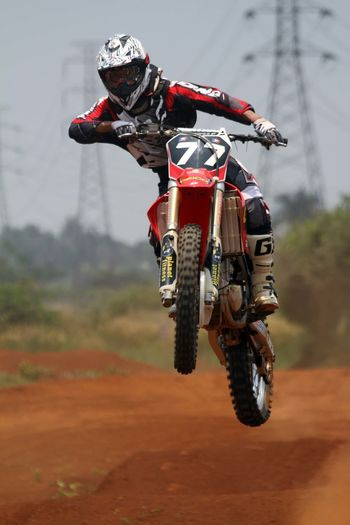 In the air. Motocross Motorcycles Sport Adventure