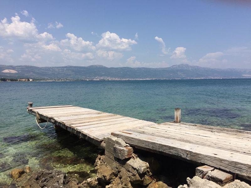 View from Ciovo island on Kastela, Croatia Croatia dalmatia Ciovoisland ciovo Sea kastela Beach summer Vacation