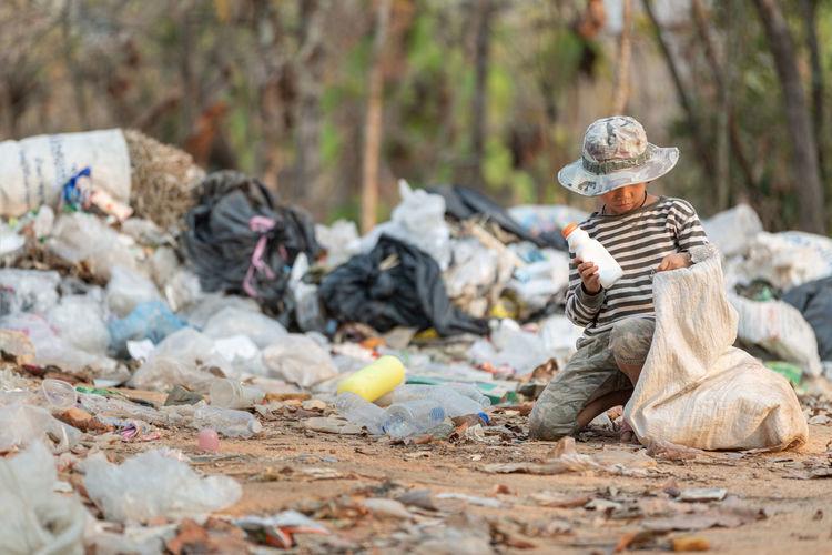 Surface level of garbage on land