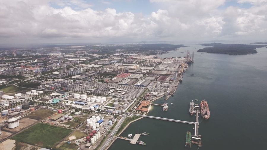 Johor Port aerial view Sea Oil Vessel Pelabuhan Pasir Gudang Pelabuhan Johor Port Ports Vessel Cloud - Sky Sky Architecture Water Cityscape Building Exterior Built Structure Aerial View River Waterfront High Angle View Nautical Vessel