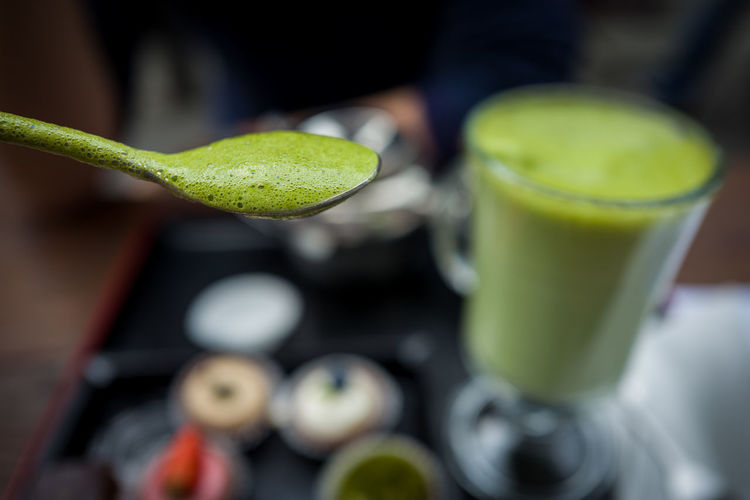 Close-up of green smoothie