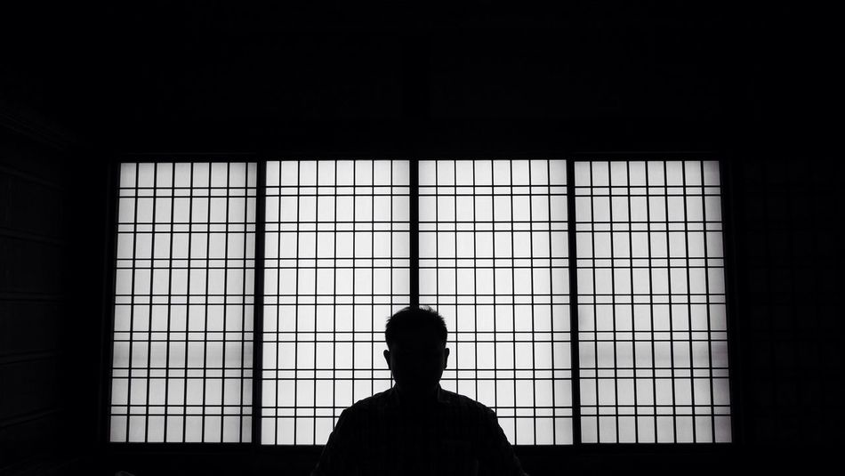 Arigato / thank you Black & White Urban Geometry Silhouette Portrait