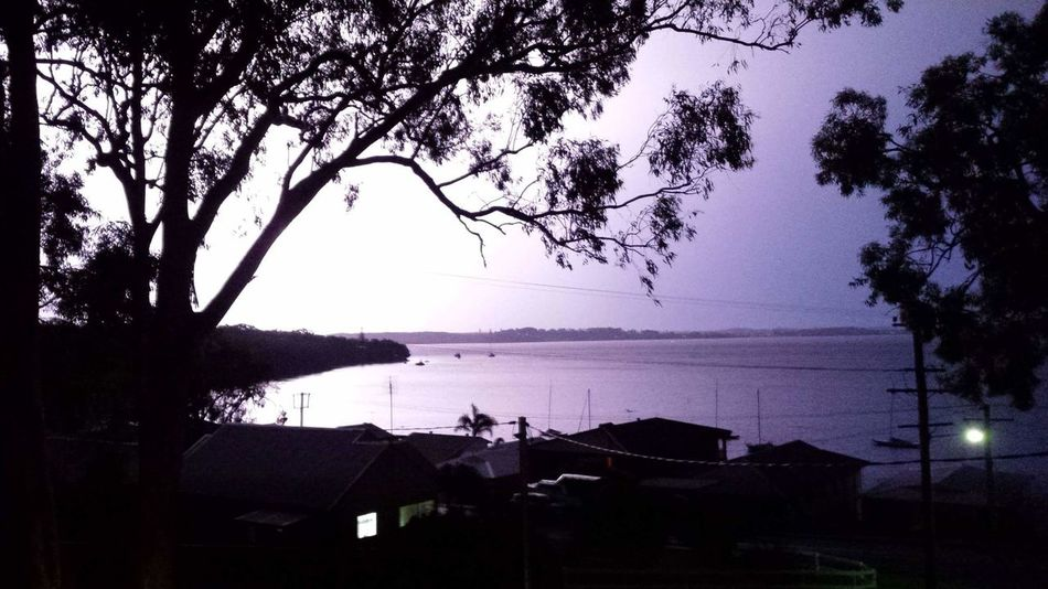 Lightening Storm Thunder Lake Macquarie Tranquility Beauty In Nature No People Water Reflection Tree Sky