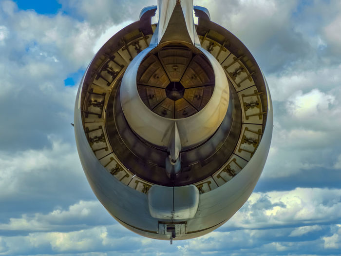 Jet engine from a transport flight in Sweden Cloud - Sky Sky Low Angle View Circle Geometric Shape Day Nature Shape No People Architecture Built Structure Outdoors Sphere Pattern Building Exterior Design Directly Below Hanging Ominous Energy Jet Engine Jet The Minimalist - 2019 EyeEm Awards