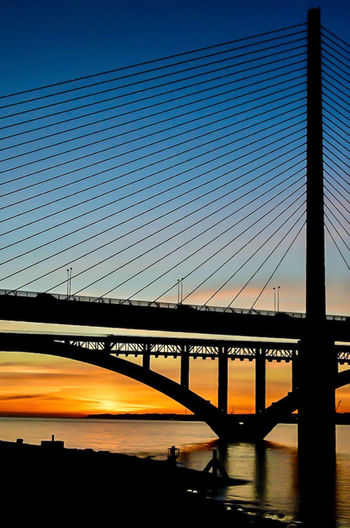 Two bridges Bridge Built Structure Transportation Architecture Sky Connection Bridge - Man Made Structure Water Engineering Sunset Silhouette Nature Suspension Bridge River Mode Of Transportation Outdoors Reflection Cable-stayed Bridge Brittany Brest Bretagne Bretagnetourisme