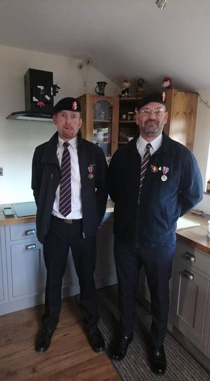 Muckas Best Mates Old Soldiers Remembrance Day Veterans Men Standing Looking At Camera Adult Indoors  Males  Business