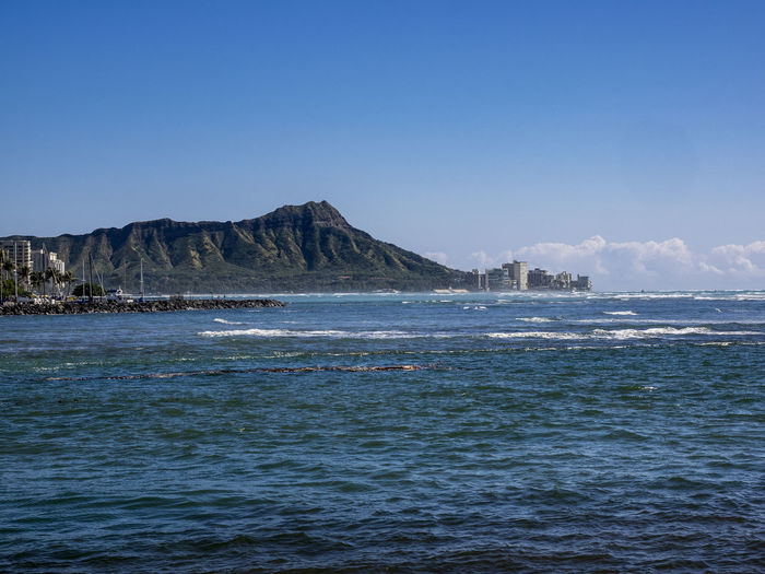 Water Sky Sea Scenics - Nature Beauty In Nature Mountain Copy Space Waterfront No People Nature Day Motion Land Tranquil Scene Outdoors Tranquility Wave Blue Clear Sky Power In Nature Diamond Head Oahu