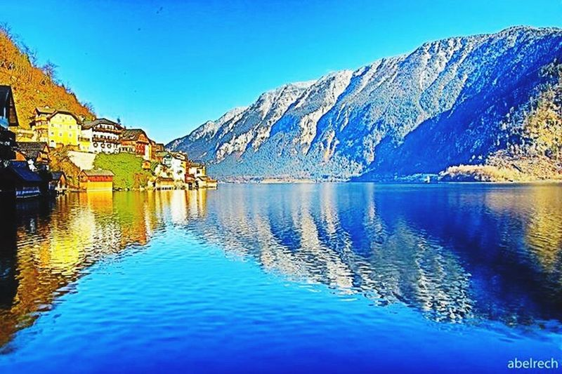 Austria Water lake Waterfront Clear Sky Reflection Blue Mountain Tranquil Scene
