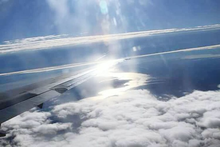 Cloud - Sky Aerial View Outdoors Nature Sky Day No People Scenics Tranquility Beauty In Nature Airplane FlyingCloud_collection  EyeEmNewHere Blue Travel Sky And Clouds Delta Airlines Aircraft Wing Airplane Wing Sunlight Awe Above