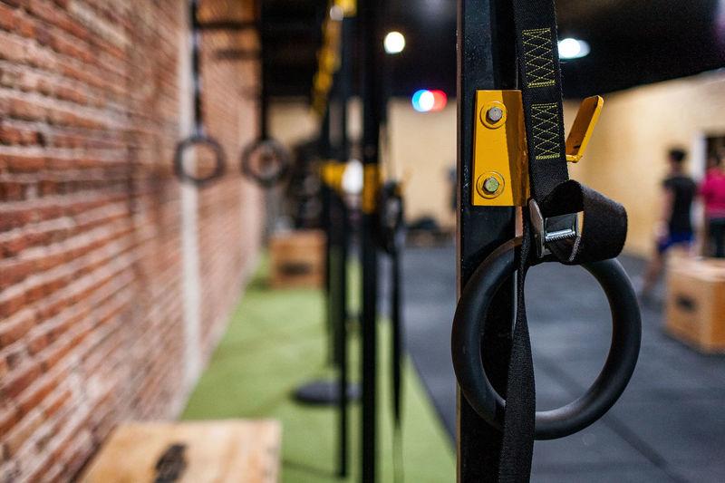Close-Up Of Gymnastic Rings At Health Club
