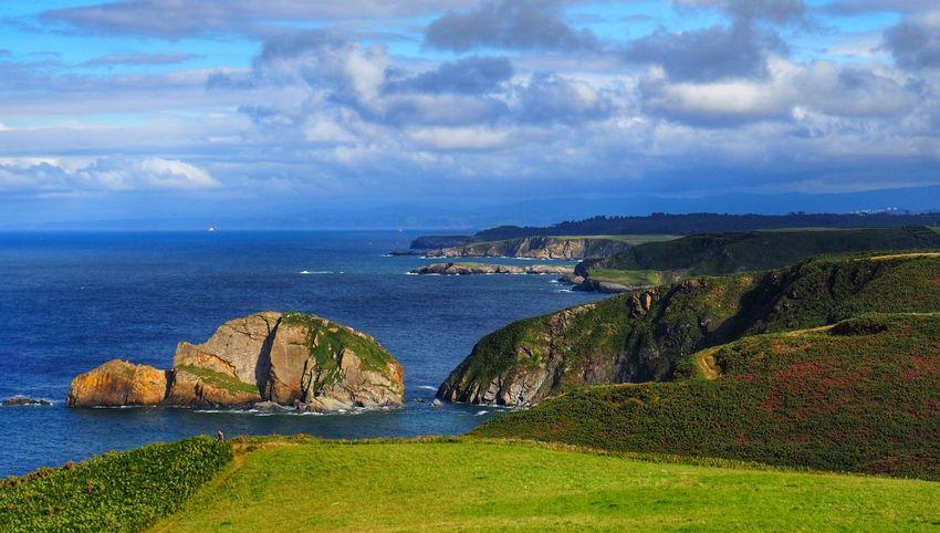 Landscape Asturias SPAIN Water Sea Beach Lighthouse Cliff Sky Architecture