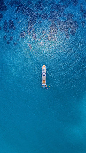 Tiny Boats. Drone  Dji DJI Phantom 4 Sea Greece Blue Summer Yacht Water Day Nature Rippled No People Outdoors High Angle View Nautical Vessel Waterfront Beauty In Nature Scenics - Nature Transportation Mode Of Transportation Ship Tranquility Underwater Travel Sailboat Sinking First Eyeem Photo