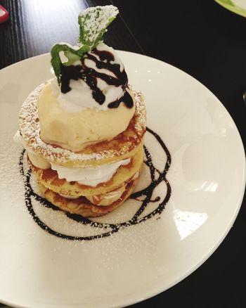 Banana Pancake w/ Vanilla Ice Cream  Dessert Veggies