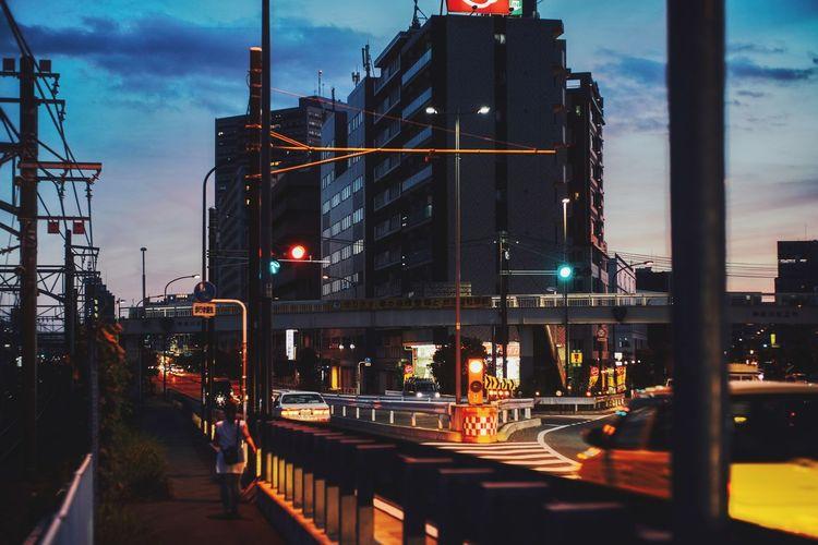 Summer Memories... Roadside Evening Light Evening Sky Yokohama, Japan Yokohama Architecture City Building Exterior Built Structure Illuminated Sky Transportation Street City Life Road Office Building Exterior City Street