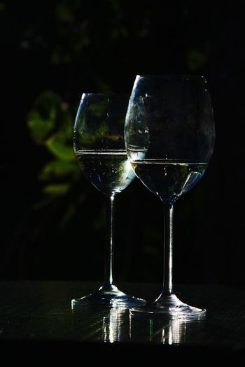 Drink Alcohol Refreshment Table Food And Drink No People Cocktail Freshness Close-up Glasses Wineglass Water Glass Reflection Dark Low Light Lowlightphotography Romantic Couple Love Goodbye Farewell Tranquility Scene Evening Sun EyeEm Selects EyeEmBestPics