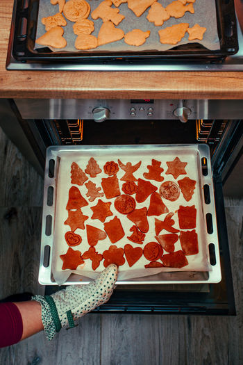 High Angle View Of Woman Keeping Baking Sheet In Oven