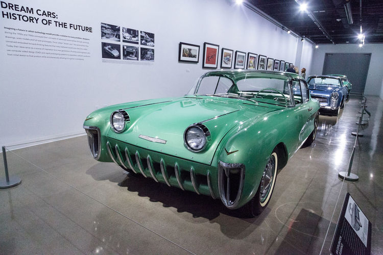 Los Angeles, CA, USA - March 4, 2017: Green 1955 Chevrolet Biscayne XP-37 from the collection of Joe Bortz at the Petersen Automotive Museum in Los Angeles, California, United States. Editorial only. 1955 Antique Car Chevrolet Chevrolet Biscayne Classic Car Day Green No People Old Car Petersen Automotive Museum Vintage XP-37