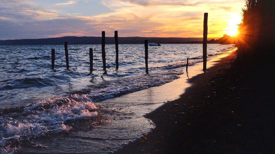 Lago di Bolsena, luglio 2015 Sunset Sunlight Beach Water Tranquil Scene Sky Nature Beauty In Nature Sun Scenics Bolsena Lake