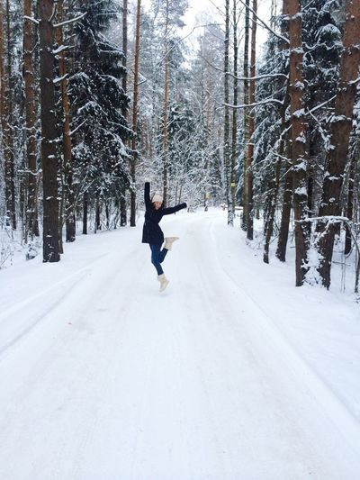 Snow Winter Forestwalk Forest Russia Trees Girl Jumping Happy Joy White Traveling Weekend Snow Wonderland Things I Like Snow Day Snow Forest Snow ❄ Fir-tree Healthy Health