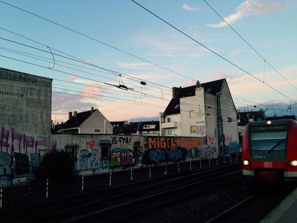 Train Arriving Train Station Evening Sky Urban Landscape Urban Graffiti