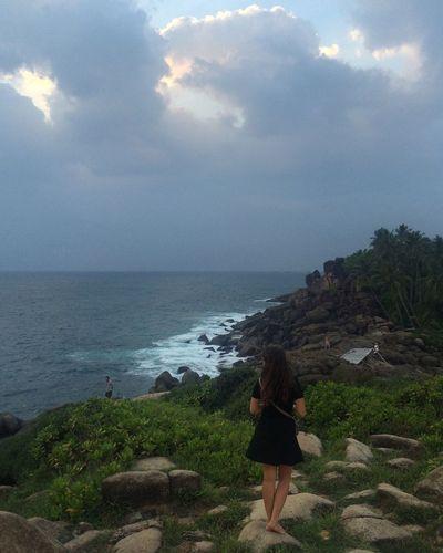 Unawatuna Sri Lanka SriLanka Vacation Traveling Woman In Black Ocean Indian Ocean Nature Exploring Evening Here Belongs To Me People Of The Oceans