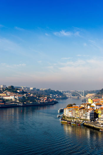High angle view of river douro by city against sky