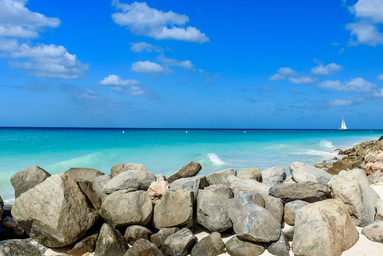 Calm Dreamy Landscape Eagle Beach, Aruba Exotic Stunning Blue Caribbean Day Dutch Horizon Over Water Idyllic Leisure Nature Outdoors Relax Relaxation Resort Rocks Scenic View Sea Summer Travel Destinations Tropical Tuquoise Water