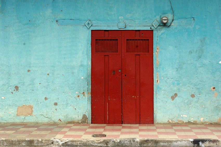 Architecture Blue Wall Checked Pattern Closed Colonial Style Entrance Entry Red And Blue Red Door The Architect - 2017 EyeEm Awards