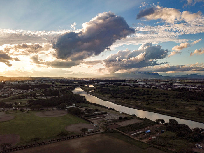 Aerial Shot Karasu River Aerial Aerial Photography Aerial View Architecture Beauty In Nature Cloud - Sky Day Environment Field High Angle View Horizon Land Landscape Nature No People Outdoors Scenics - Nature Sky Sunset Tranquil Scene Tranquility Water