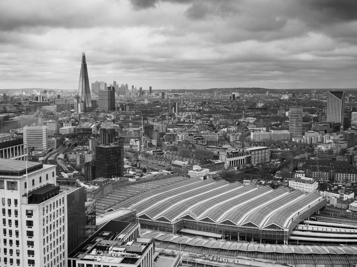View of the City and East London from the London Eye Built Structure Architecture Building Exterior City Cityscape Sky Building Cloud - Sky Office Building Exterior Tall - High Skyscraper Modern Outdoors Financial District  Spire  Shard London Canary Wharf London Eye, London London Eye B&w Black And White Black And White Photography Black & White Cloudy Dramatic Sky Waterloo