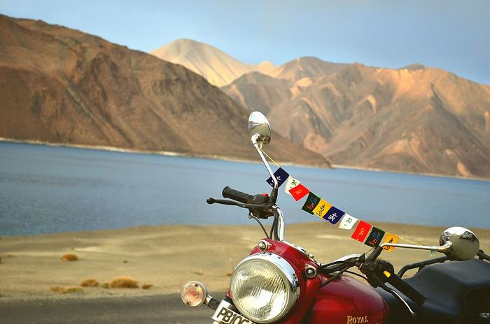 Motorcycle Mountain Biker Outdoors No People, Indianmountains India No People Beauty In Nature Travel Destinations Mountain Range Lakefront Lakeview Lake And Mountain Lake And Sky Lake And Hill Bike Trip Biketouring Bike Tour Bike Lehnladakh LehLadakh Lehladakhtrip Leh Ladakh India