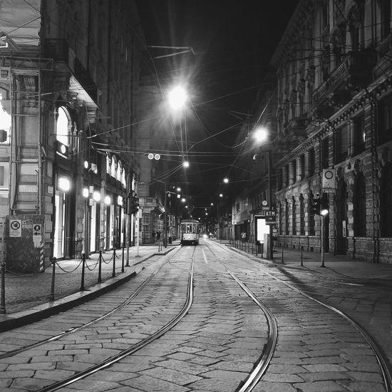Tram Blackandwhite Black And White Blackandwhite Photography Black And White Photography Black & White Nightphotography Night Milanocity Milano Railway Battle Of The Cities EyeEmNewHere