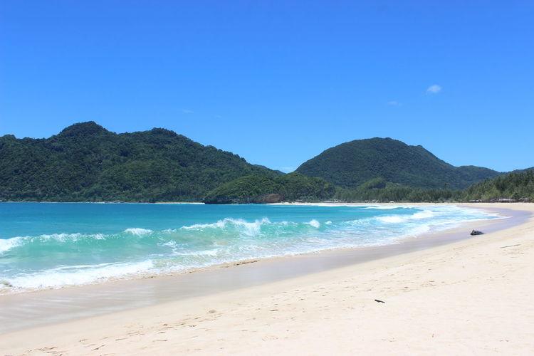 beauty beach Beach Tree Water Clear Sky Sea Mountain Beach Blue Sand Summer Sunny