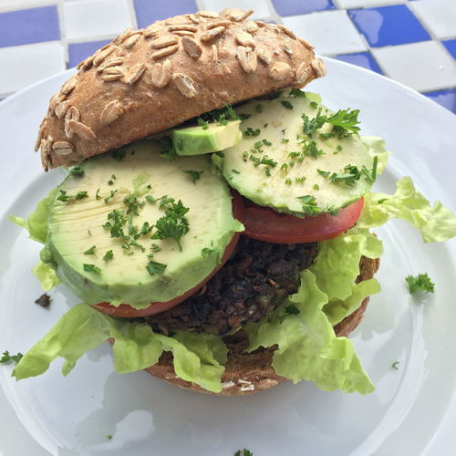 High angle view of burger served in plate