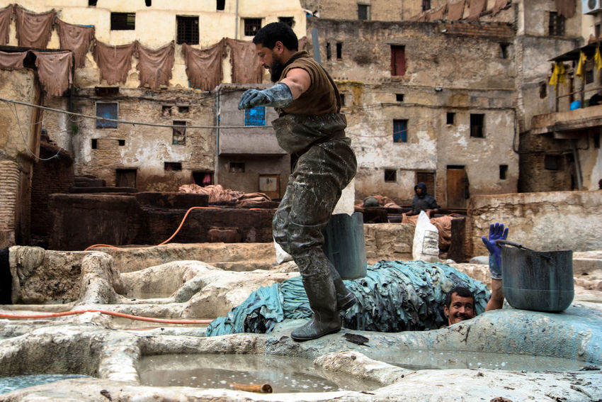 Color Fez Marroco Tanneries Workers