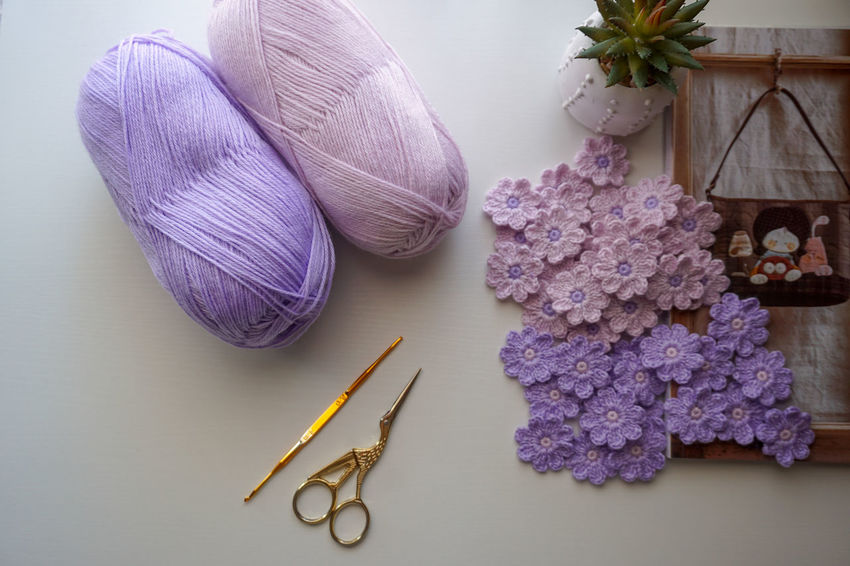 Crochet Flowers Yarn Crafts Handmade Scissors Purple Flower Hobby Full Frame Catus Purple Magazine Acrylic Yarn Knitting Needle Skill  Knitting Close-up Crochet Sewing Item Thread Sewing