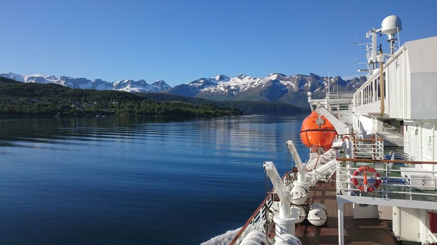 Blue Clear Sky Contrasts Day Mountain Range Nautical Vessel Passageway Scenics Sea Sky Transportation