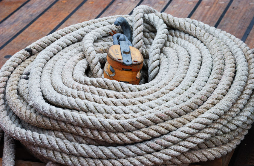 Cleat Close-up Coiled Rope Day Nautical Vessel No People Outdoors Rigging Rope Sailing Sailing Ship Strength Thick Tied Up Water