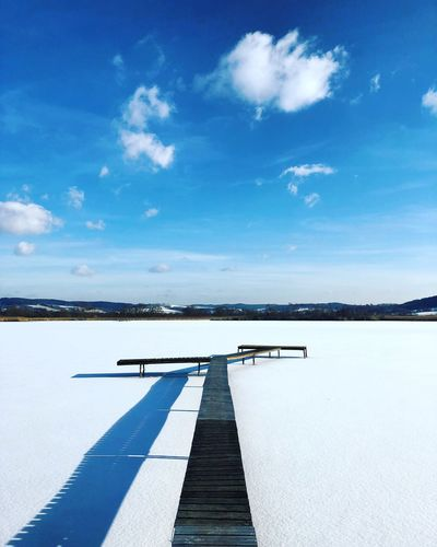 Frozen Lake | Oliver Hlavaty Photographie • © 2015-18 Oliverhlavaty Lake Frozenlake Sea See Germany Deutschland Oliverhlavatyphotographie SchmalkaldenMeiningen Thuringia Thuringen Schmalkalden Werratal Werra Breitungen Sky Blue Transportation Cloud - Sky Day Outdoors Airport Runway Airplane Beauty In Nature No People Scenics Tranquility Water Nature Runway
