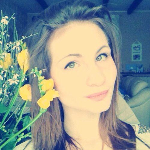 Cute Girl Yellow Flowers Lovely Photo Green Eyes