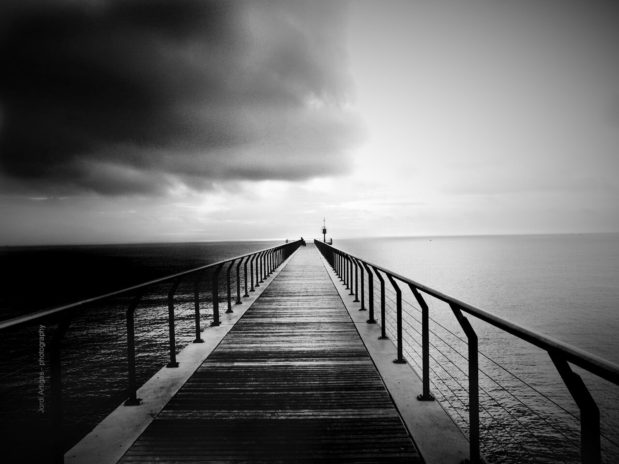 the way forward, pier, water, railing, sky, sea, diminishing perspective, horizon over water, tranquility, tranquil scene, cloud - sky, jetty, vanishing point, built structure, long, scenics, wood - material, boardwalk, nature, beauty in nature