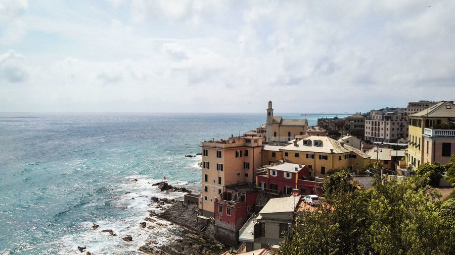 Genova Boccadasse Belvedere Architecture Beauty In Nature Boccadasse Building Exterior Built Structure Day Fishermanslife Fishermanvillage Genova Horizon Over Water Italy Liguria,Italy Nature No People North Italy Outdoors Sea Sky Tree Water